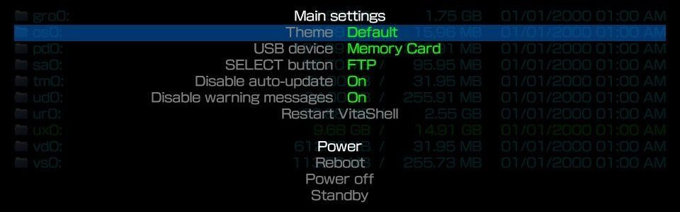ps vita vitashell settings press start