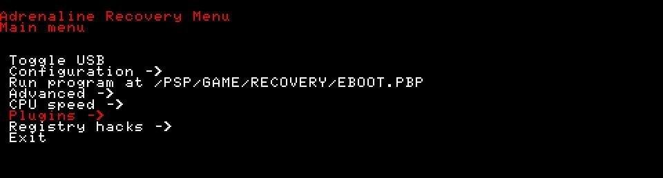 adrenaline vsh psp recovery menu
