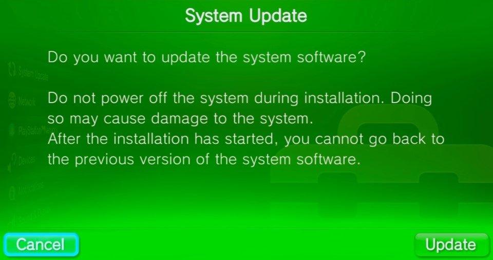 vita system update