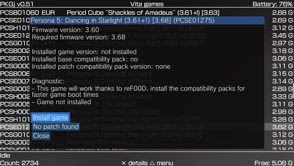 pkgj install game with patch