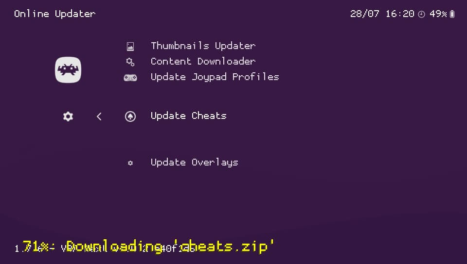 retroarch update cheats