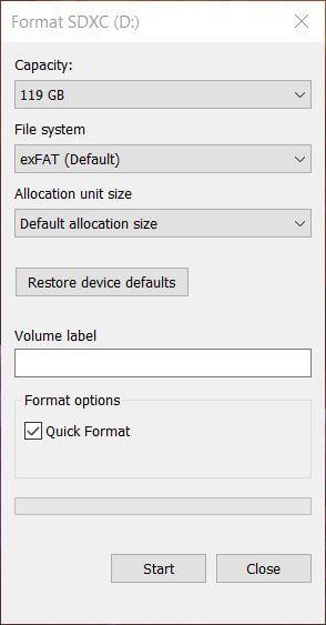 sd2vita format sd exfat allocation size