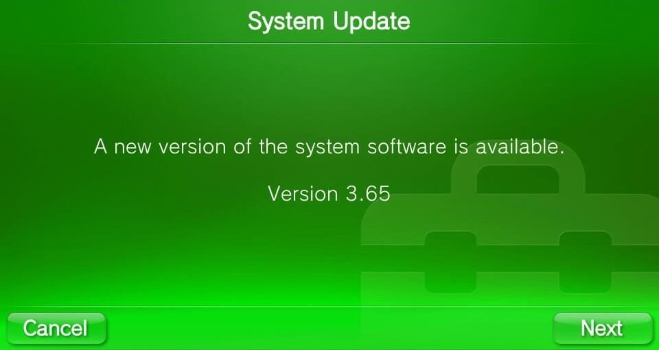 3.65 vita system software available
