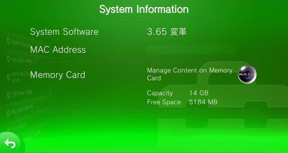 3.65 vita system information