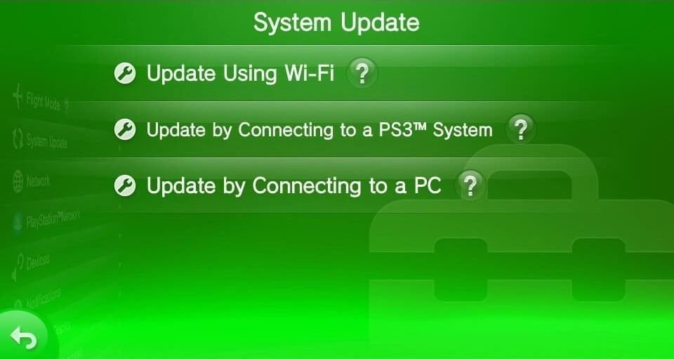vita update by connecting to pc