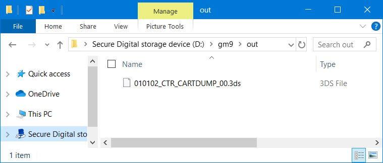 3ds dump cartridge gm9 out