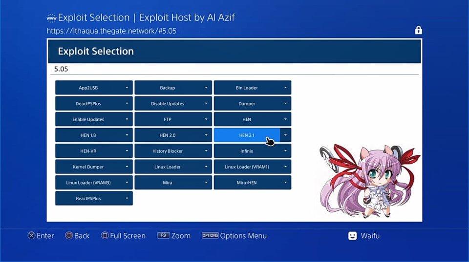 PS4 hen 505 exploit webpage al azif