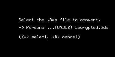 convert 3ds to cia godmode9 select