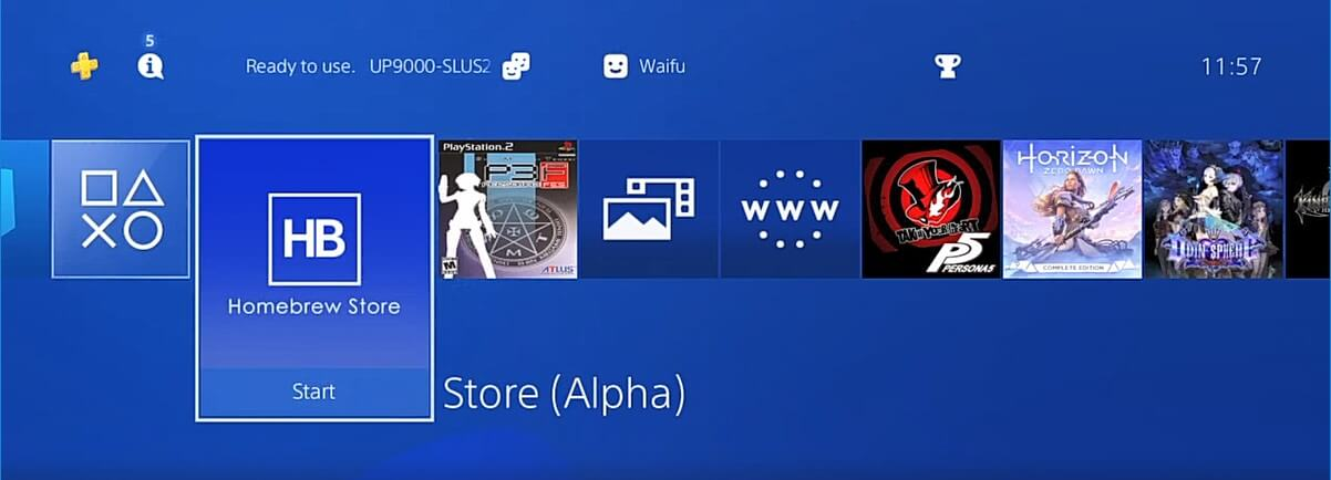 homebrew store 505 ps4 home menu