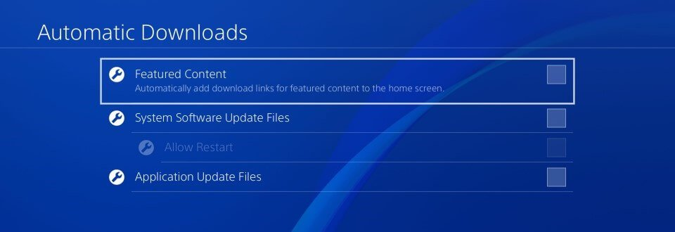 ps4 automatic downloads settings
