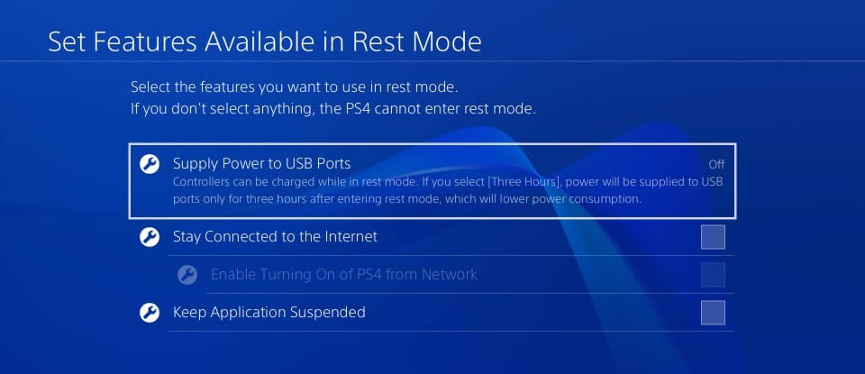 ps4 set features rest mode