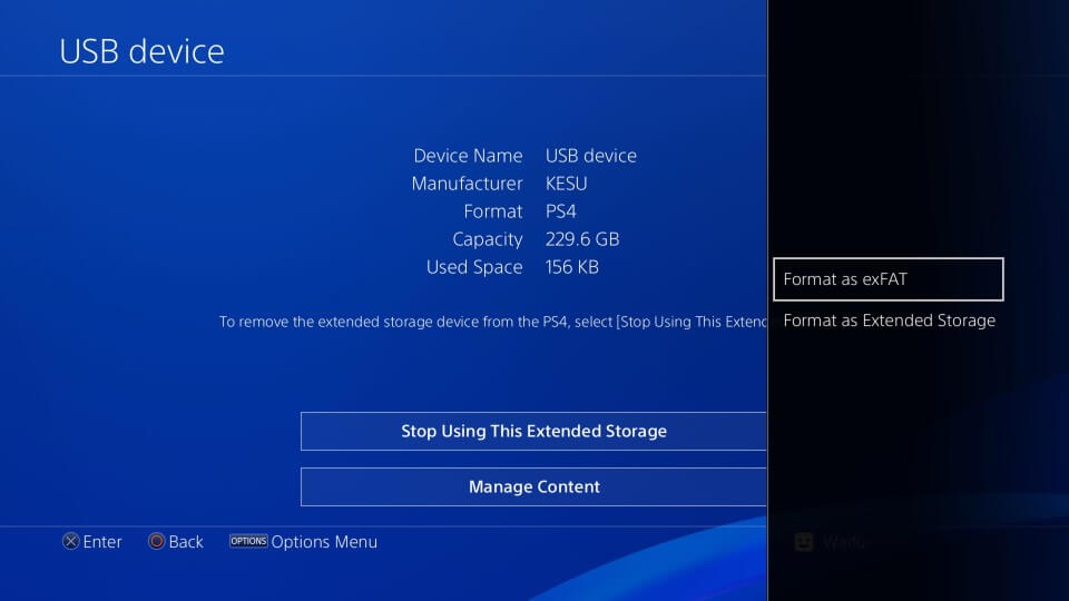 ps4 settings usb stop extended storage devices