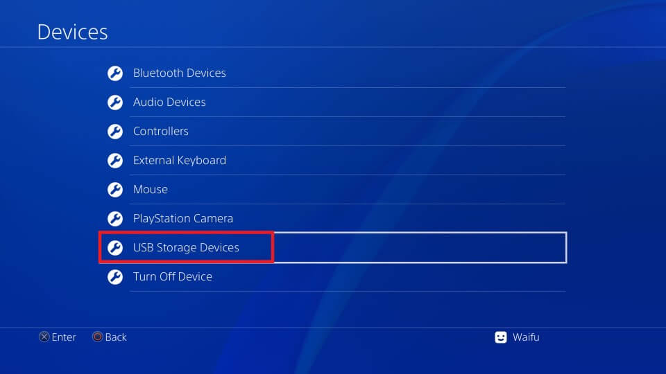 ps4 settings usb storage devices