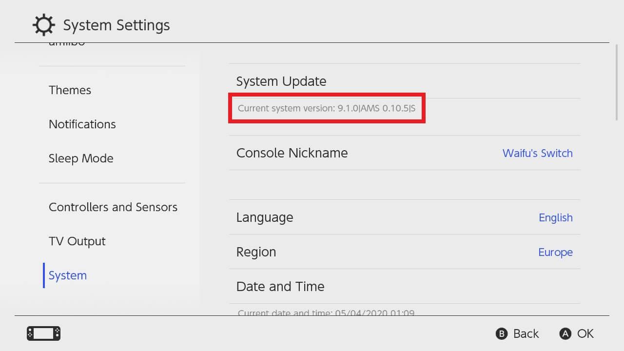 choidujournx switch settings firmware confirm