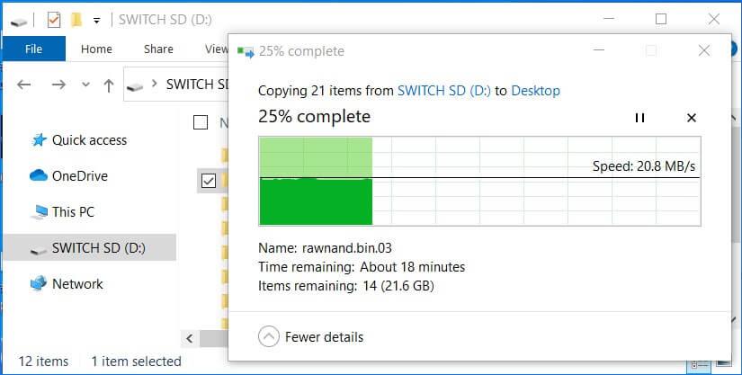 copy nand backup folder switch