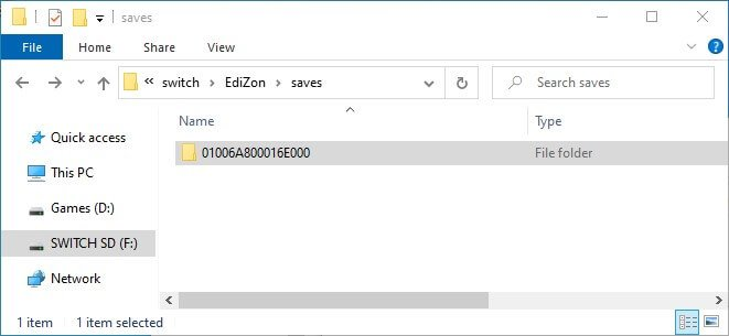 edizon switch save import restore location