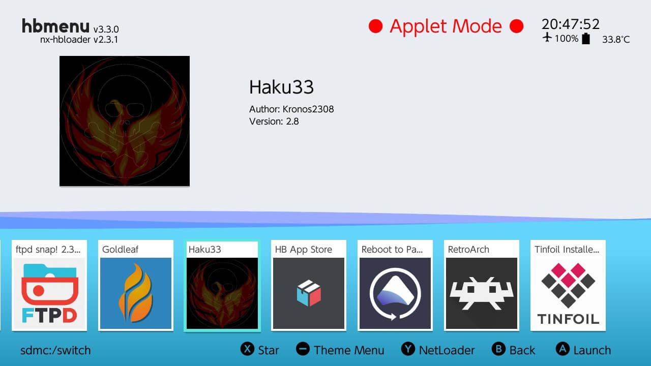 haku33 hb menu switch atmosphere clean nand
