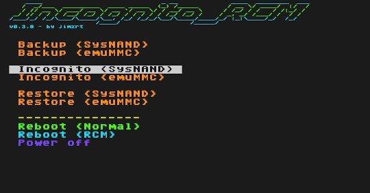 incognito rcm switch main menu