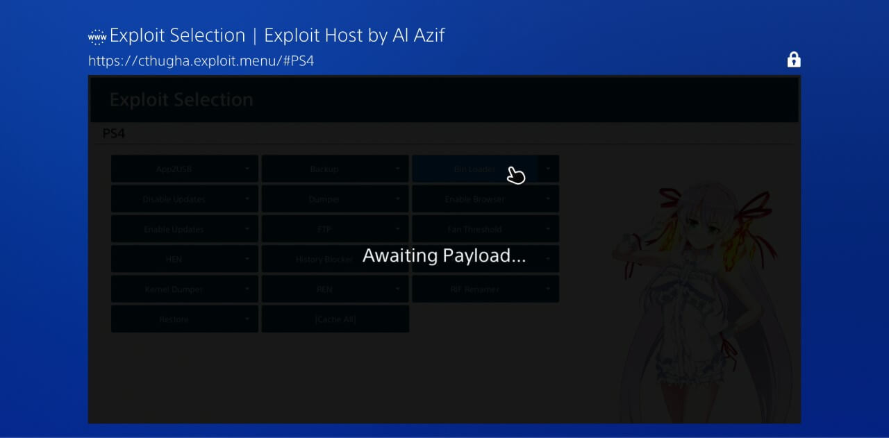 ps4 505 jailbreak al azif exploit selection bin loader awaiting payload