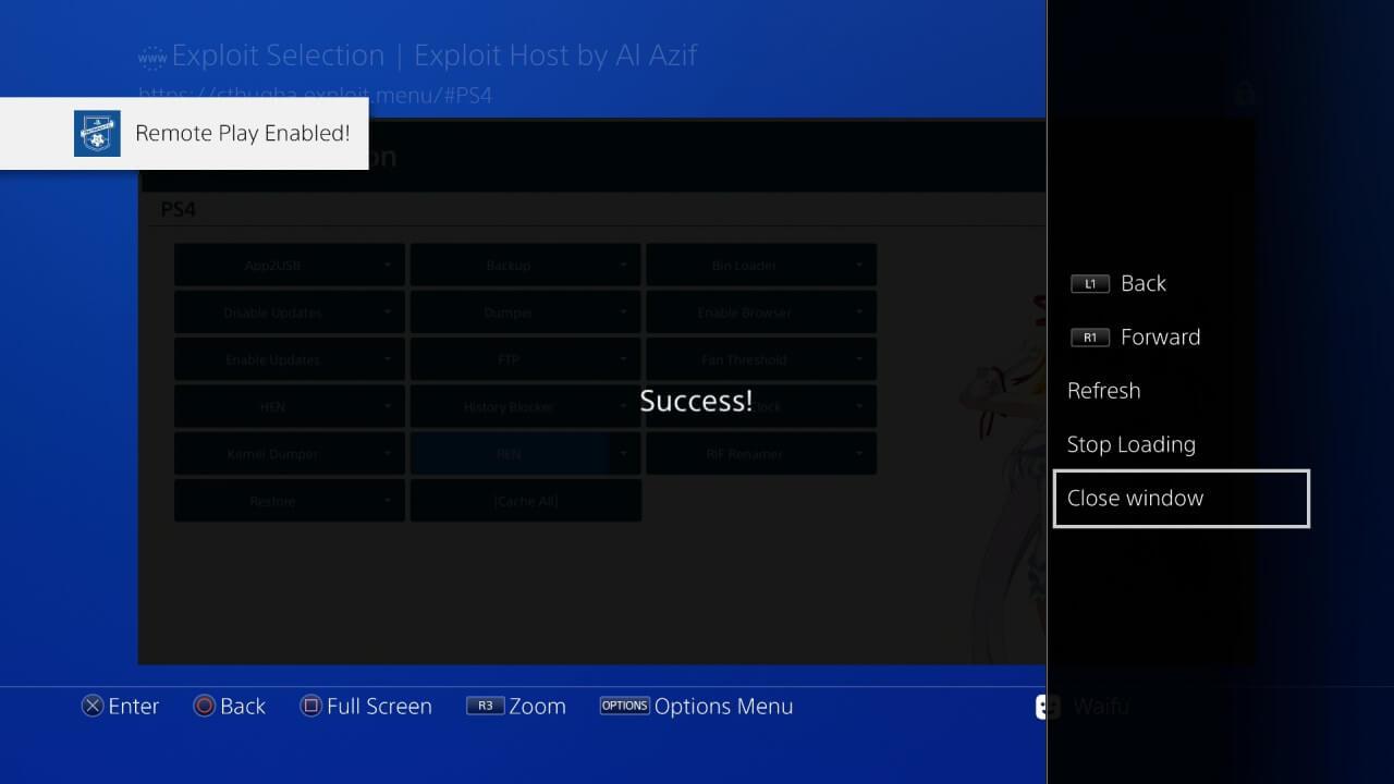 ps4 505 jailbreak al azif exploit selection remote play enabled ren