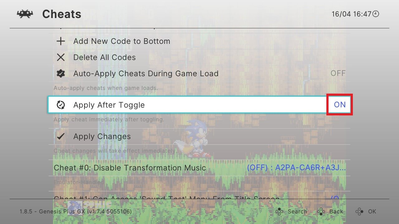 retroarch switch cheats apply after toggle