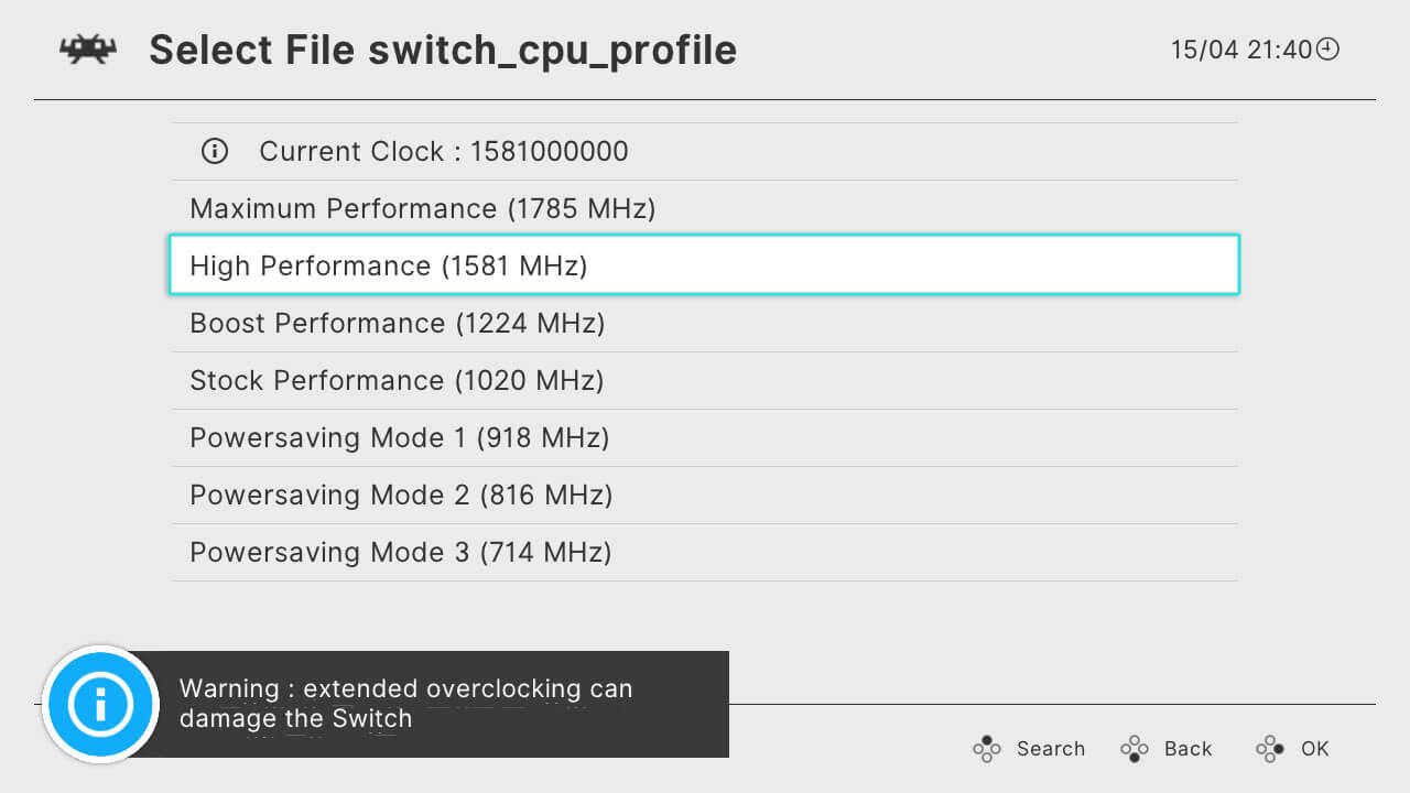 retroarch switch cpu overclock boost high performance 60 fps