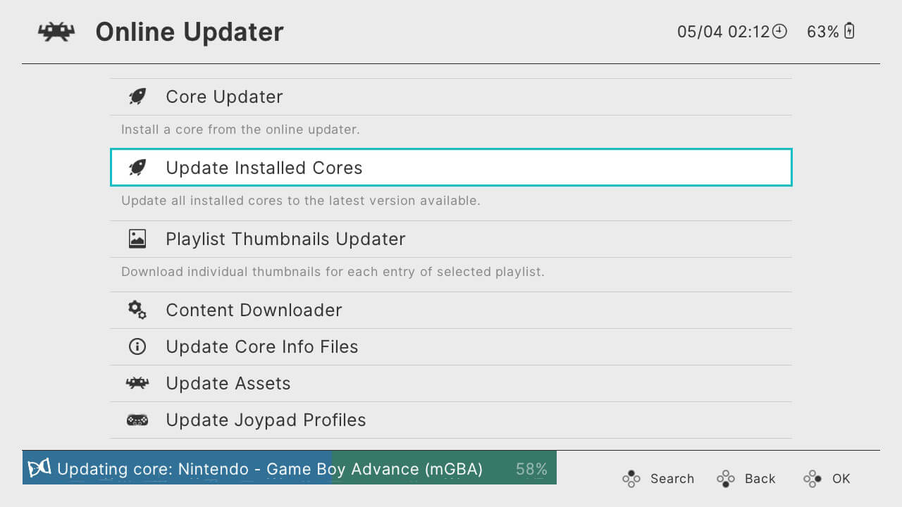 retroarch switch online updater update cores