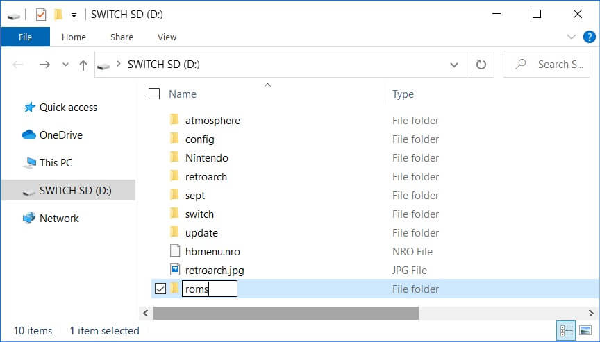 retroarch switch roms folder
