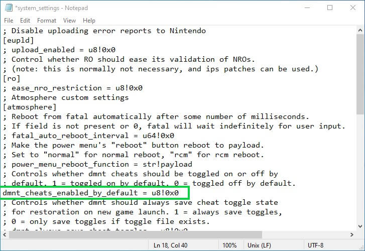 switch atmosphere disable auto cheats default edizon system settings ini notepad change