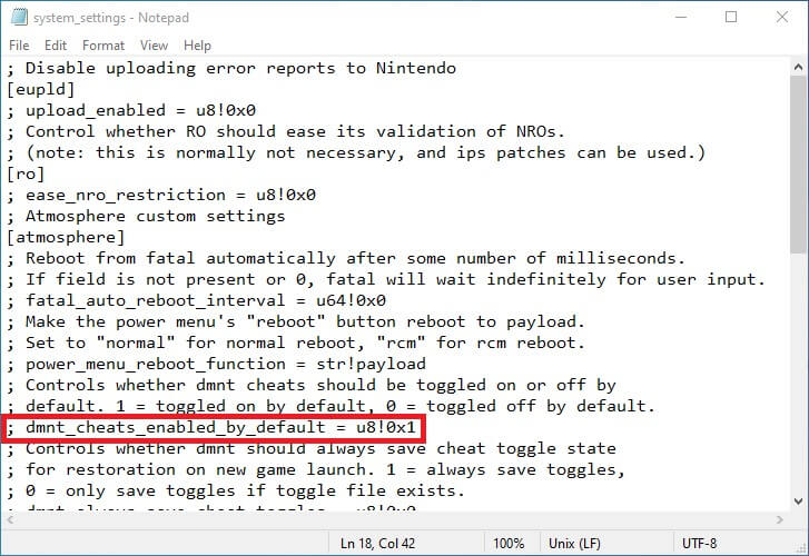 switch atmosphere disable auto cheats default edizon system settings ini notepad