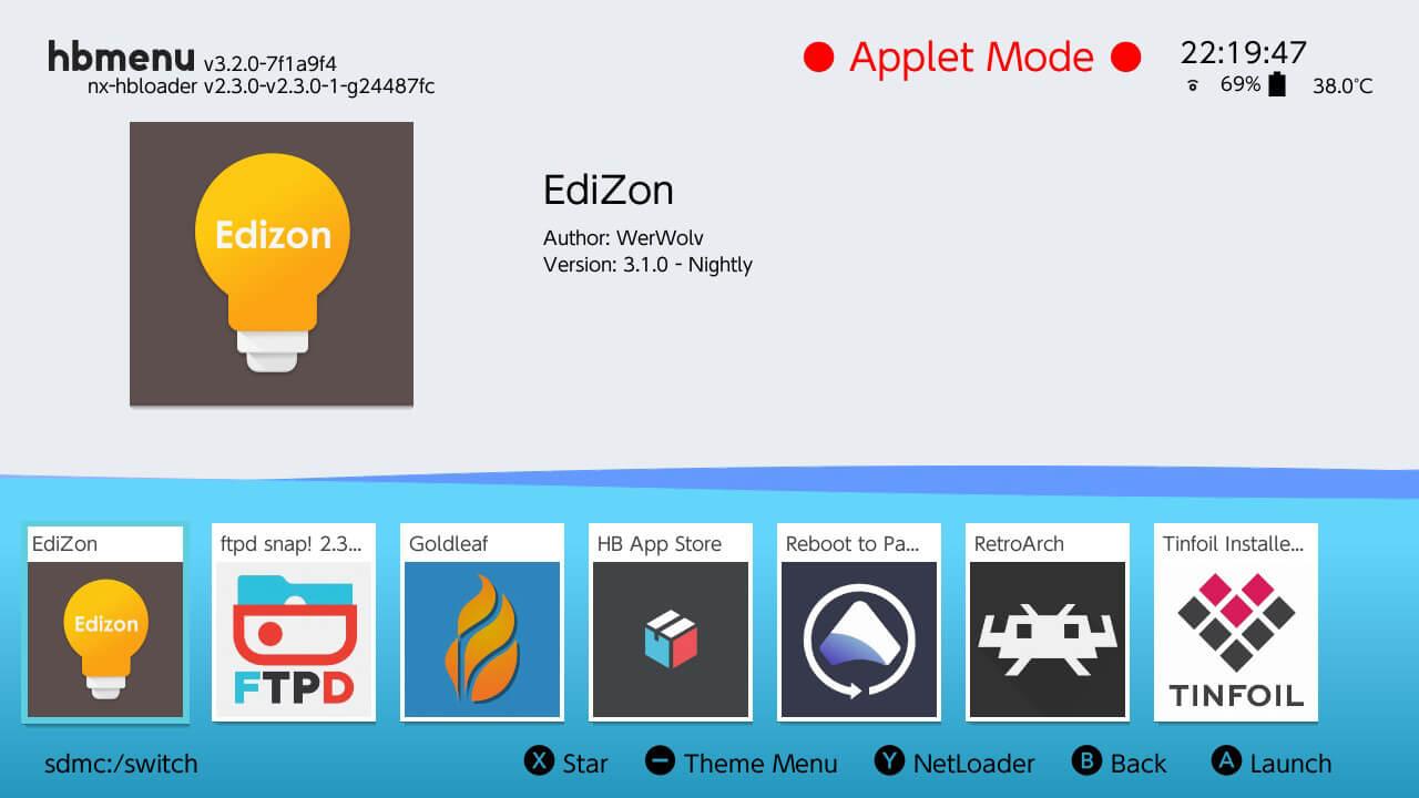 switch edizon nro hb menu