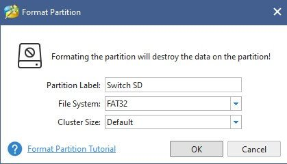 switch emunand disk management minitool partition format partition fat32