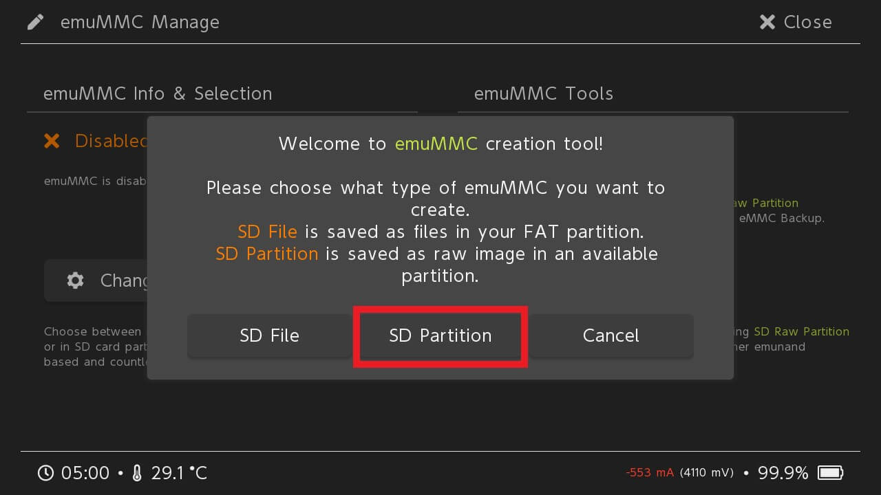 switch emunand hekate create emummc sd partition