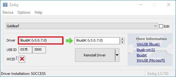 switch goldleaf zadig install libusbk driver success