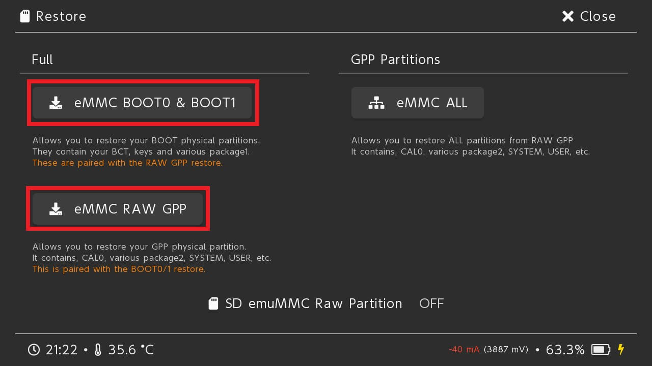 switch hekate nand restore emmc boot0 boot1 raw gpp