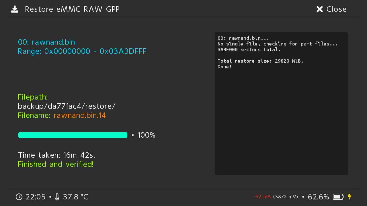 switch hekate restore nand emmc raw gpp success