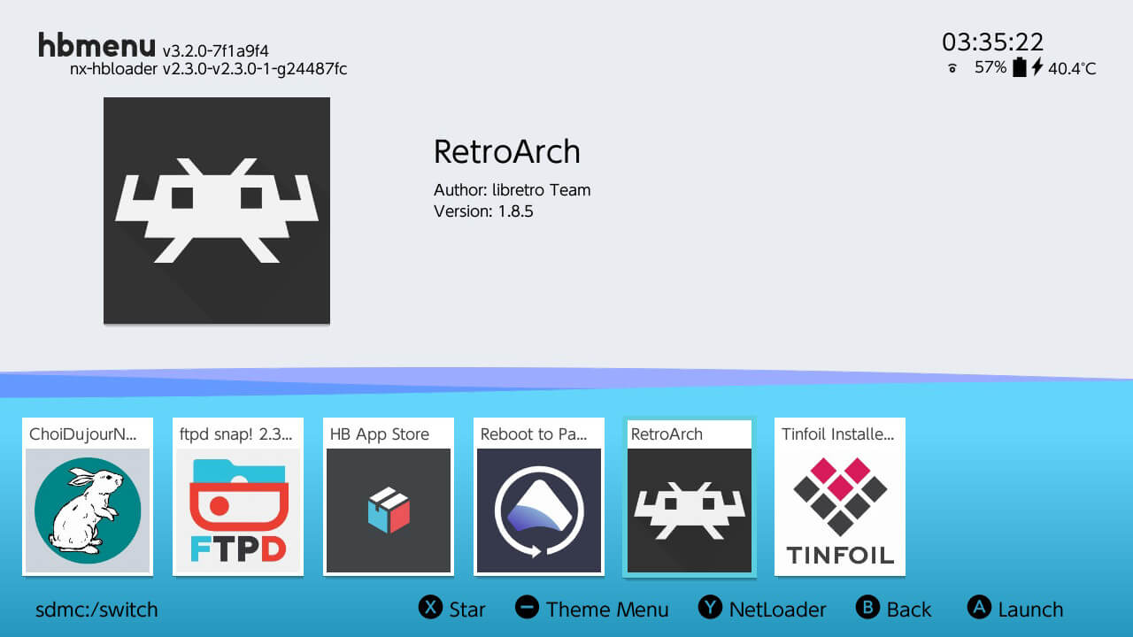 switch retroarch hb menu atmosphere