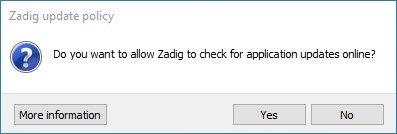 zadig no updates