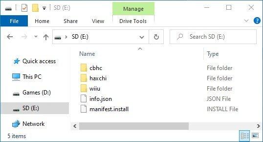 wii u cfw install sd files haxchi cbhc
