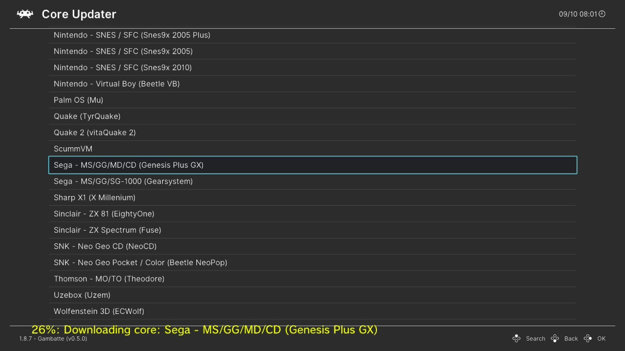 wii u retroarch online core updater sega genesis plux gx