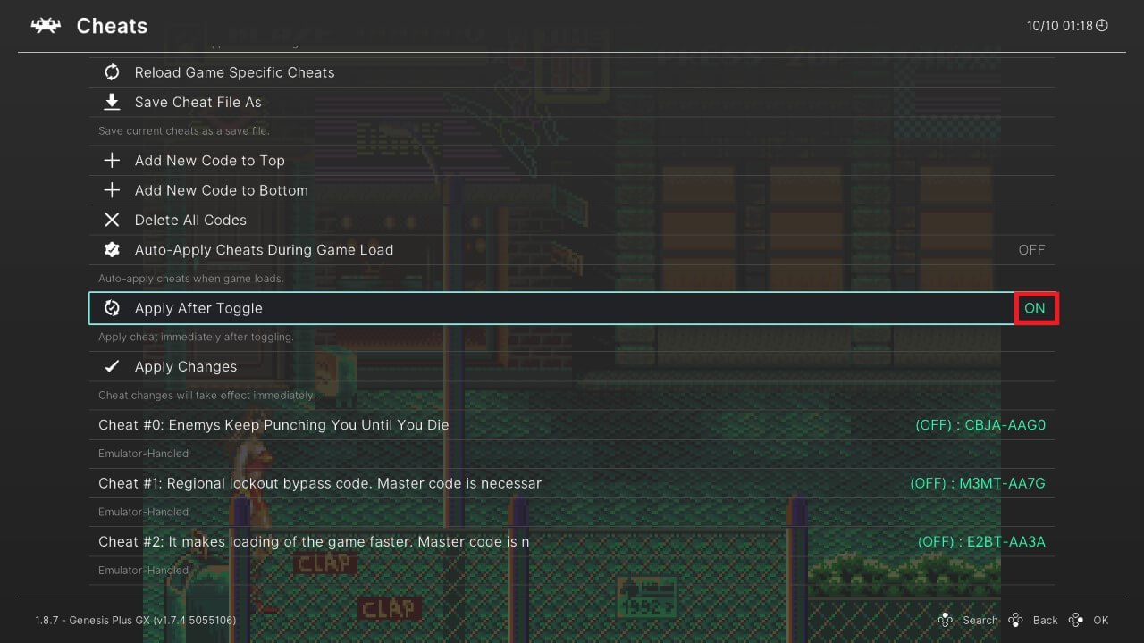 wii u retroarch quick menu cheats apply after toggle