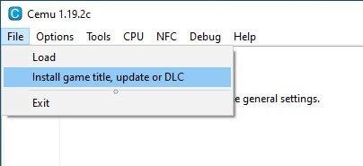 cemu install game title update dlc