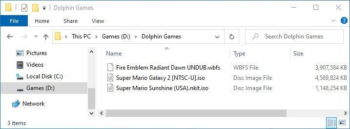 dolphin games roms folder