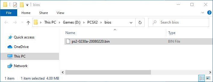 pcsx2 first time installation bios file