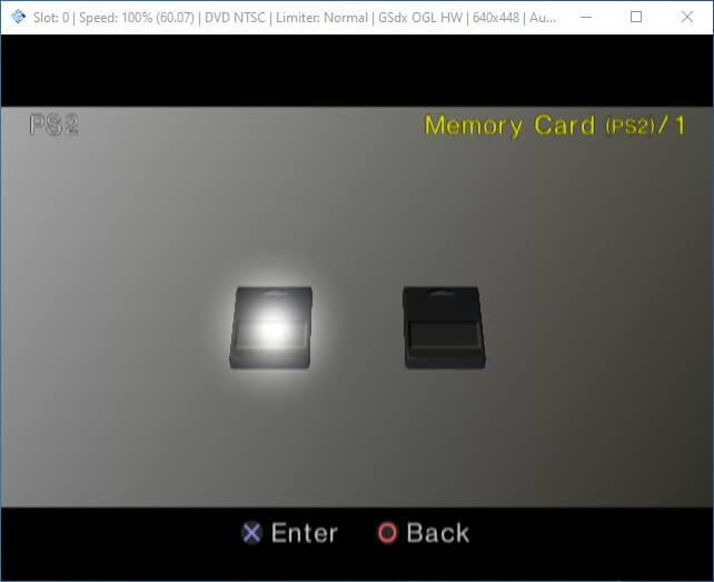 pcsx2 format bios select memory card