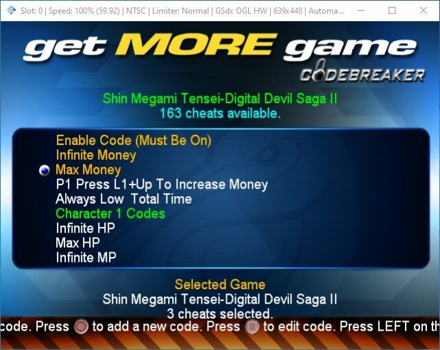 pcsx2 launch ps2 codebreaker iso select game cheats