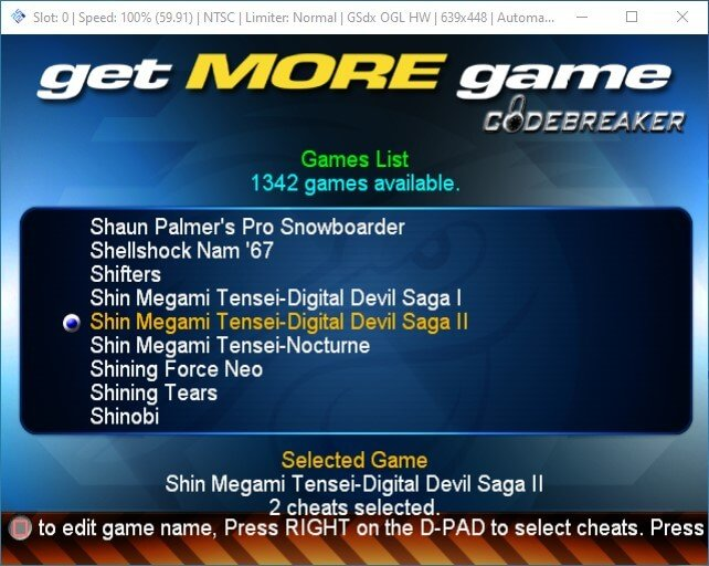 pcsx2 launch ps2 codebreaker iso select game
