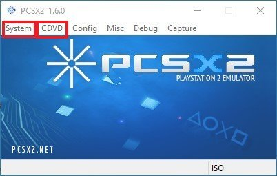 pcsx2 main window launch cdvd ps2 iso