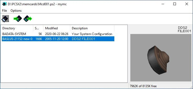 pcsx2 mymc import save file done