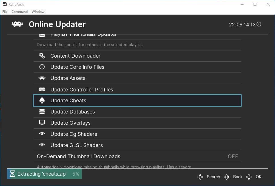 retroarch pc main menu online updater cheats